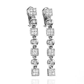 18K White Gold 1.74ctw Diamond Dangle Earrings