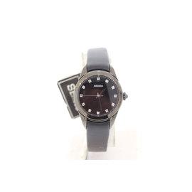 Seiko SRZ389P1 Stainless Steel Black Dial with Diamond Quartz 27mm Womens Watch