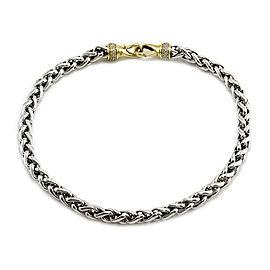 David Yurman 925 Sterling Silver & 18K Yellow Gold Pave Diamond Clasp Wheat Necklace