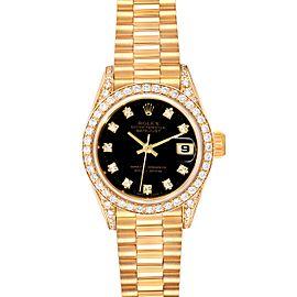 Rolex President Datejust Yellow Gold Diamond Ladies Watch 69158