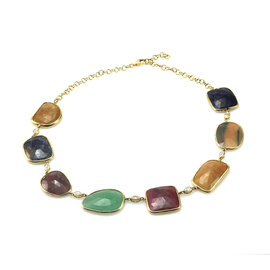 Yellow Gold Sapphire, Diamond Womens Necklace