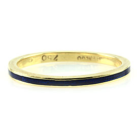 Hidalgo 18K Yellow Gold & Deep Blue Enamel Stackable Eternity Band Ring Size 6