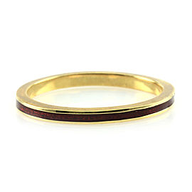 Hidalgo 18K Yellow Gold & Deep Red Enamel Stackable Eternity Band Ring Size 7.5