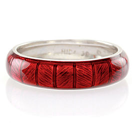 Hidalgo 18K White Gold & Red Enamel Stackable Eternity Band Ring Size 6.25