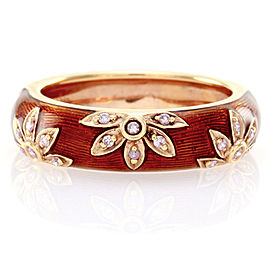 Hidalgo 18K Rose Gold & Sienna Brown Enamel with Diamonds Flower Band Ring Size 6.75