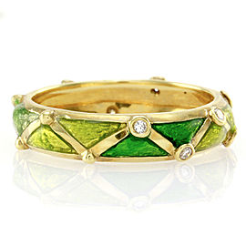 Hidalgo 18K Yellow Gold & Green Enamel with Diamond Station Eternity Band Ring Size 6.25