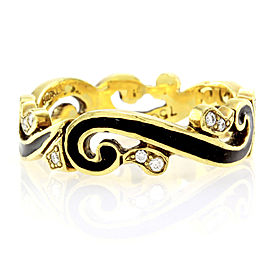 Hidalgo 18K Yellow Gold & Black Enamel with Diamond Scroll Band Ring Size 6.5