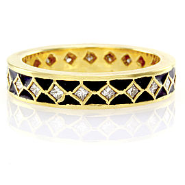 Hidalgo 18K Yellow Gold & Black Enamel with Diamonds Eternity Band Ring Size 6.25