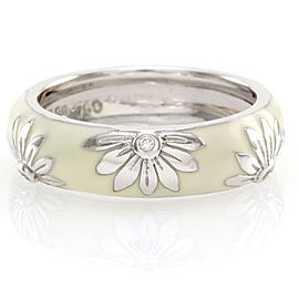 Hidalgo 18K White Gold & White Enamel with Diamonds Flower Band Ring Size 6.25