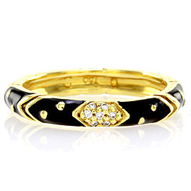 Hidalgo 18K Yellow Gold & Black Enamel with Diamond Eternity Band Ring Size 6.25