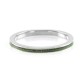 Hidalgo 18K White Gold & Green Enamel Stackable Eternity Band Ring Size 6.5