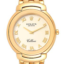 Rolex Cellini 18k Yellow Gold Ivory Roman Dial Mens Watch 6623