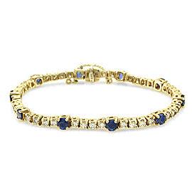 14K Yellow Gold Blue Sapphire and Diamond Line Bracelet