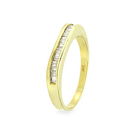 14K Yellow Gold Baguette Diamond Band Size 6.75