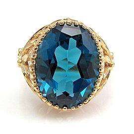 14k Yellow Gold 14.69ct London Blue Topaz Ring Size 10