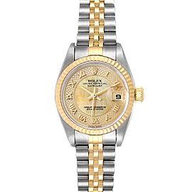 Rolex Datejust Steel Yellow Gold Decorated MOP Ladies Watch 79173