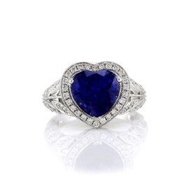 18K White Gold Ceylon Sapphire Heart and Diamond Ring Size 6.25