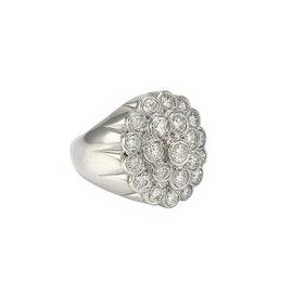 14K White Gold 2.75ctw. Diamond Cluster Ring Size 6.5