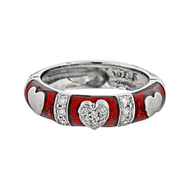 Hidalgo 18K White Gold Diamond Red Enamel Heart Band Size 6.5