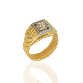 14K White & Yellow Gold Champagne Diamond Solitaire Ring Size 9.75