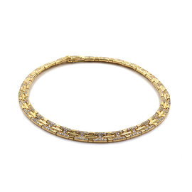 Bulgari 18K Yellow Gold Parentesi Pave Diamond Necklace