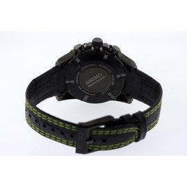 Men's Seiko SNAE97 Sportura Chronograph Alarm Black w/ Green Leather Band Watch