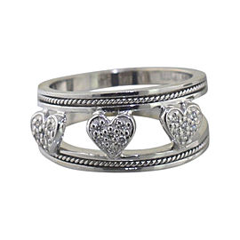 Hidalgo 18K White Gold with 0.15ct Diamond Bead Heart Ring Size 6.5
