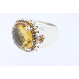 John Hardy Sterling Silver 20x18 Oval Faceted Honey Citrine Batu Bamboo Ring