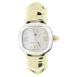 David Yurman 925 Sterling Silver & 18K Yellow Gold Mother of Pearl Dial Quartz 21mm Womens Watch