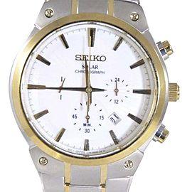 Seiko Solar SSC318 Two Tone Stainless Steel Quartz 43mm Mens Watch