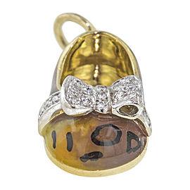 Aaron Basha 18K Yellow Gold with Diamond Leopard Shoe Bow Charm Pendant