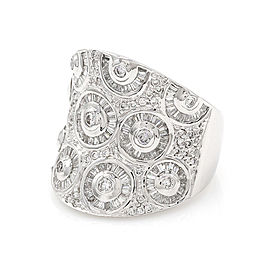 Concave Diamond Cigar Band in 18K White Gold
