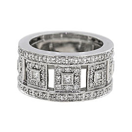 Charriol 18K White Gold with 0.90ct. Diamond Band Ring Size 6