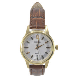 Seiko SUR880 Gold Tone Stainless Steel & Silver Dial 28mm Womens Watch