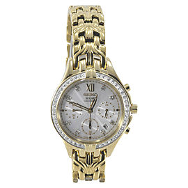 Seiko SSC876 Gold Tone Stainless Steel & Crystal Accented Dial 35mm Womens Watch