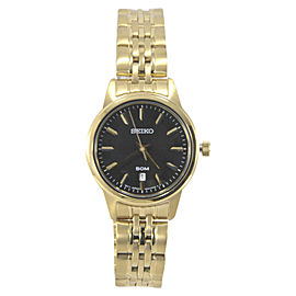 Seiko SUR886 Gold Tone Stainless Steel & Black Dial 28mm Womens Watch