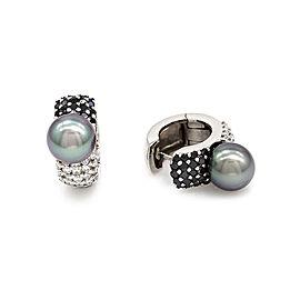 Tahitian Pearl and Pave Diamond Hoop Earrings in 18K White Gold