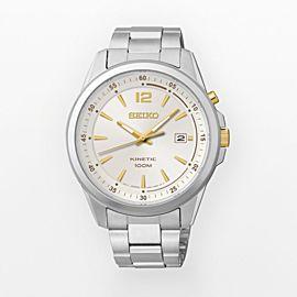 NWOT Men's Seiko Kinetic SKA601 Silver Dial w/ Date Stainless Steel Watch