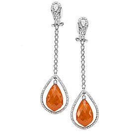 Orange Spessartite Garnet & Diamond Halo Dangle Earrings in 18K White Gold