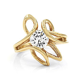 Exquisite Diamond Solitaire Freeform Swirl Ring in 14k Yellow Gold