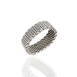 Tiffany & Co. 925 Sterling Silver Somerset Mesh Band Ring Size 11