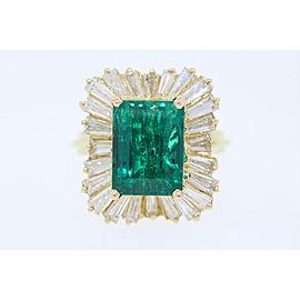 Yellow Gold Emerald, Diamond Womens Ring Size 5.75