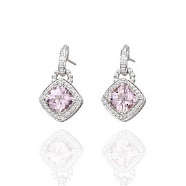 Charles Krypell 18K White Gold 3.73ctw Morganite and 0.30ctw Diamond Earrings