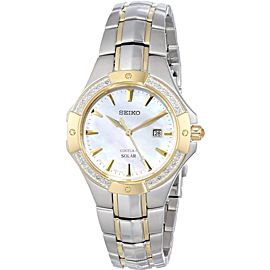 NWOT Ladies Seiko Coutura SUT124 Solar Mother of Pearl & Diamond Two Tone Watch