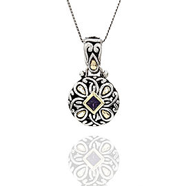 John Hardy 925 Sterling Silver and 18K Yellow Gold with Amethyst Pendant