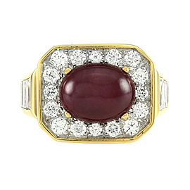 Custom Ruby Cabochon & Pavé Diamond Halo Ring in 18K Gold
