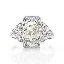 2.32ct European Cut Diamond Engagement Ring in 900 Platinum