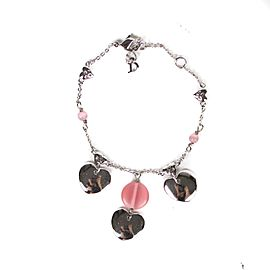 Christian Dior Silver Tone Hardware with Pink Beads Heart Charms Bracelet