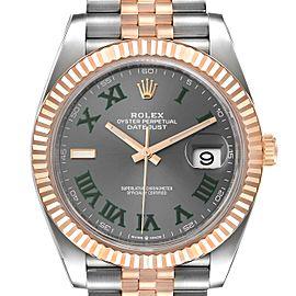 Rolex Datejust 41 Steel Everose Gold Wimbledon Dial Watch 126331