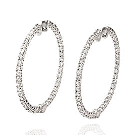 Diamond Inside-Outside Hoop Earrings in 18K White Gold